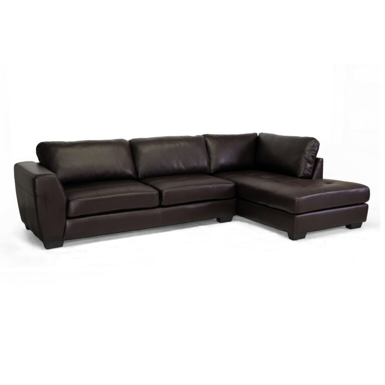 BAXTON STUDIO ORLAND BONDED LEATHER MODERN SECTION SOFA